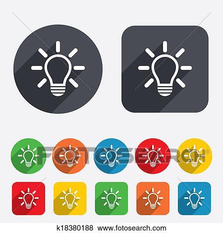 Stock Illustration - licht, lampe, zeichen, icon., idee, symbol ...