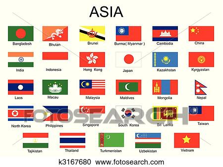 clipart of list of all asian country flags without middle asia