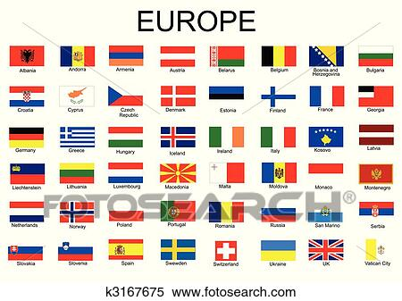 clipart of list of all european country flags k3167675 search clip