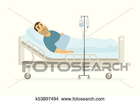 Man In Hospital On A Drip   Cartoon People Characters Illustration On White  Background. A Young Person Lying In A Bed With An Infusor.