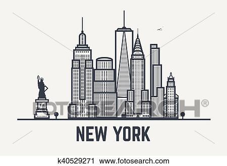 Clipart New York Stad Black Lijnen K40529271 Zoek Clipart
