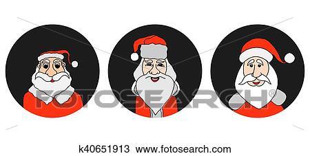 Papai Noel Coloridos Redondo Icones Jogo Desenho K40651913
