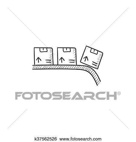 Clipart Tapis Roulant Pour Colis Croquis Icon K37562526