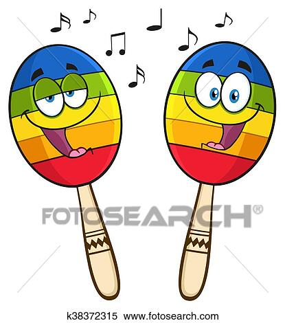 clipart of two colorful mexican maracas k38372315 search clip art