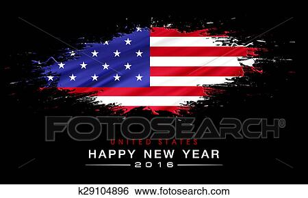 happy new year 2016 with national flag background
