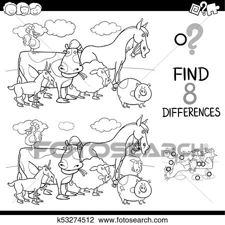 Differences game with farm animals color book Clipart ...