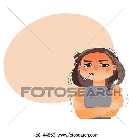 Menina Mulher Com Termometro Boca Tendo Gripe Clipart K50144859 Fotosearch Termometro comprar de boca adulto criança sem mercurio. fotosearch