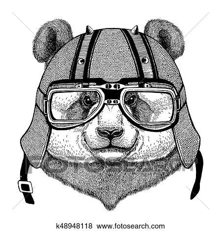 Arkiv Illustrasjon Panda Bjorn Bambus Bjorn Slitasje Biker