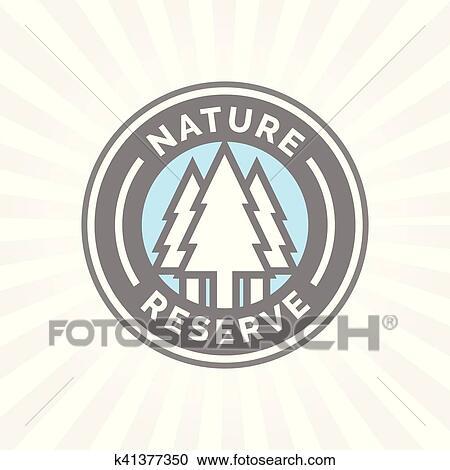 aliexpress buying new lowest price Réserve naturelle, icône, badge., protégé, forêt, signe., arbres,  silhouette, symbole. Clipart