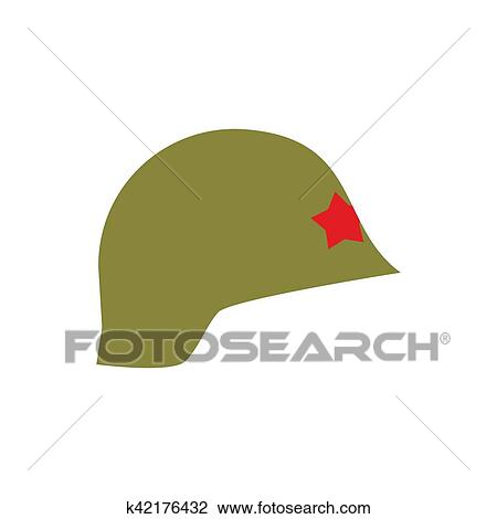 407af0d3674 Clipart - Retro military helmet isolated. Vintage Army cap on white  background. Soldiers protection