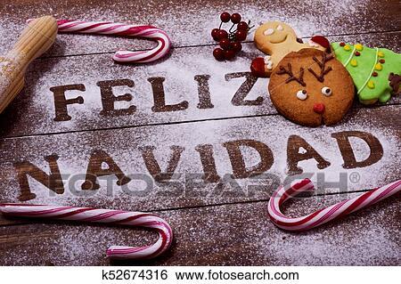 Buon Natale In Spagnolo.Testo Feliz Navidad Buon Natale In Spagnolo Archivio Fotografico K52674316 Fotosearch