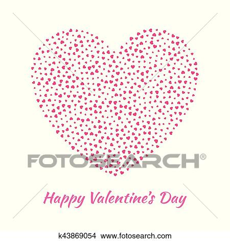 Abstract Vector Elegant Heart With Small Pink Hearts For