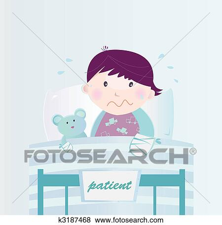 Clip art of ill child with broken hand in the hospital k3187468 cute small child lying in the hospital bed with illness vector cartoon illustration of child with broken hand altavistaventures Images