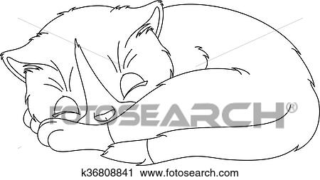 Clipart Of Kitten Sleep Coloring Page K36808841 Search Clip Art