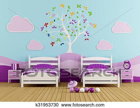 Stock illustraties kleurrijke slaapkamer voor meisje