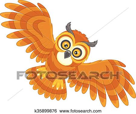 Vector Illustration Of Cute Owl Cartoon Flying Royalty Free Cliparts,  Vectors, And Stock Illustration. Image 62077791.