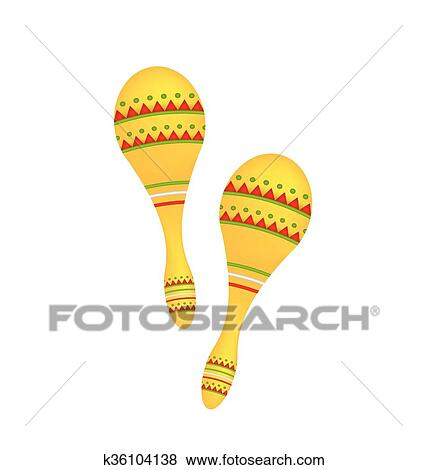 clip art of pair colorful maracas isolated on white background