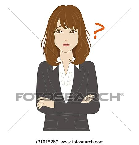 考え 若い女性 中に スーツ イラスト K31618267 Fotosearch