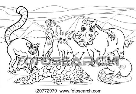 Clip Art - africano, animales, caricatura, colorido, página ...