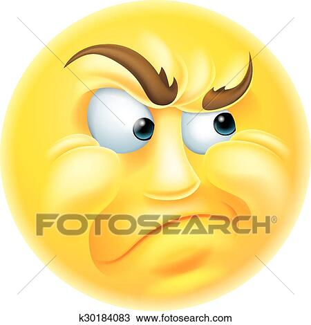 Angry or Jealous Emoticon Emoji Clipart