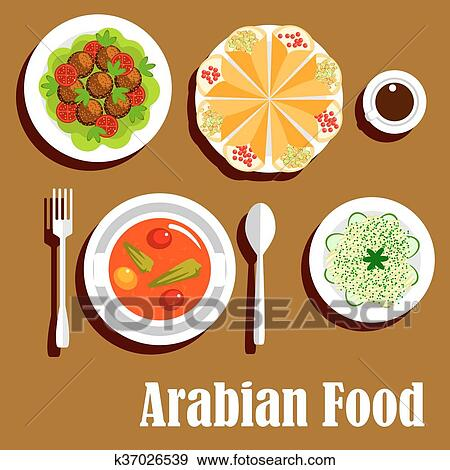 Arabian vegetarian lunch menu flat icon Clip Art