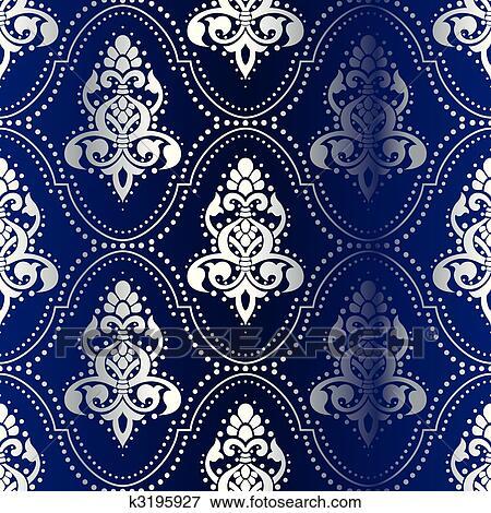 835d9ab268 Argento, su, blu, seamless, indiano, modello, con, punti Clip Art ...