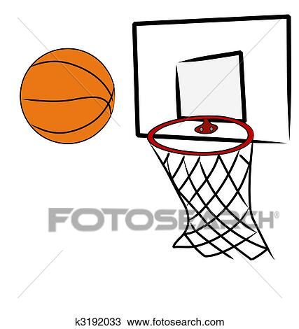 drawing of basketball being shot into hoop of basketball net rh fotosearch com