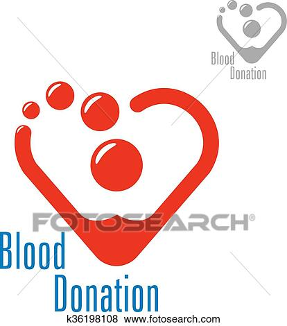 Clip Art Of Blood Donation Symbol With Heart Made Of Red Drops