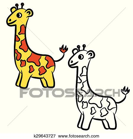 Cartoon Giraffe. Coloring Book Clip Art K29643727 Fotosearch