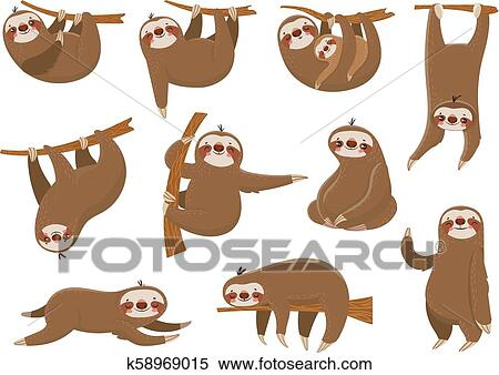 Cute Cartoon Sloths Adorable Rainforest Animals Mother And Baby On Branch Funny Sloth Animal Sleeping On Jungle Tree Vector Set Clipart K58969015 Fotosearch