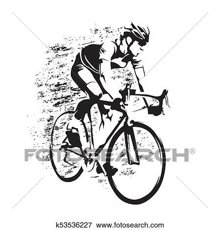 clipart cycling estrada ciclista ligado seu bicicleta