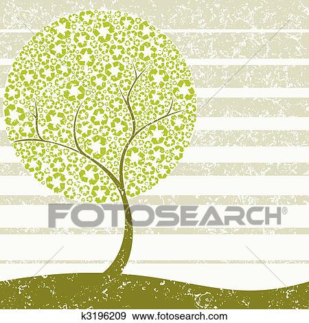 Grungy Recycling tree concept Clip Art | k3196209 | Fotosearch