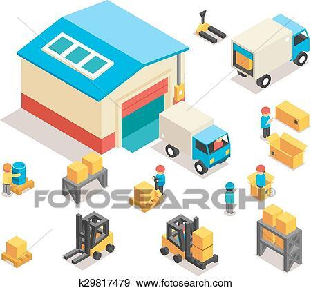 clipart isom trique usine entrep t distribution. Black Bedroom Furniture Sets. Home Design Ideas