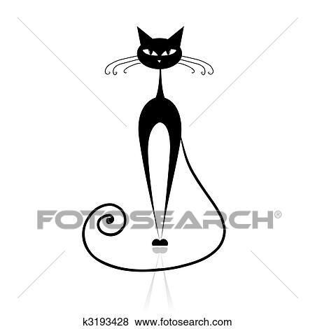 Clip art gatto nero silhouette per tuo disegno for Gatto clipart