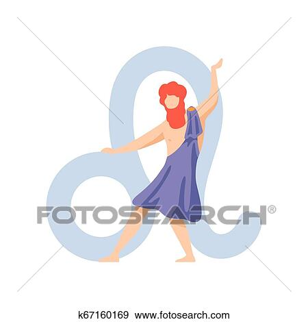 Leo Zodiac Sign, Young Man Wearing Clothes in Style of Ancient Greece  Vector Illustration Clip Art