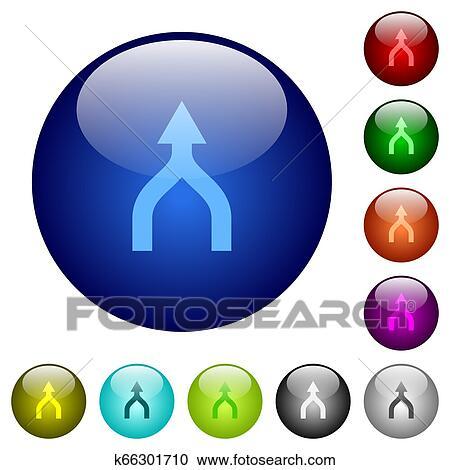 Merge arrows up color glass buttons Clipart | k66301710 ...