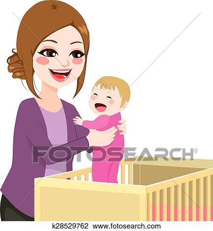 Clipart Mutti Pflückend Baby Von Kinderbett K28529762 Suche
