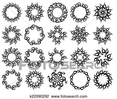 clipart tatouage soleil flamme tribal conception k22090292 recherchez des clip arts des. Black Bedroom Furniture Sets. Home Design Ideas