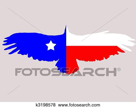Illustration Of Abstract Texas Flag In Eagles Shape