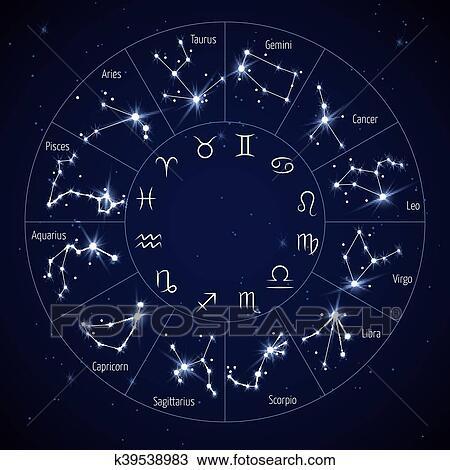 Clipart zodiaque constellation carte lion vierge scorpion symboles vecteur - Cancer et sagittaire au lit ...