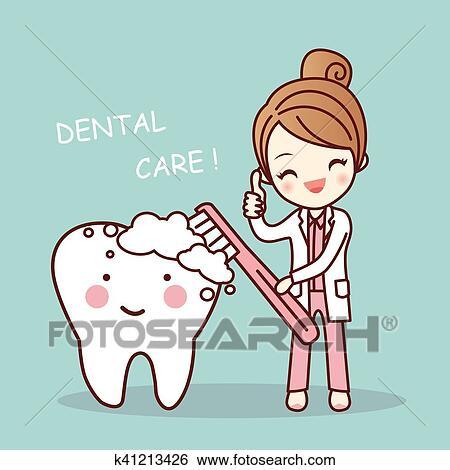 جذاب رسم كاريكتوري طبيب أسنان أغصان سن Clip Art K41213426 Fotosearch