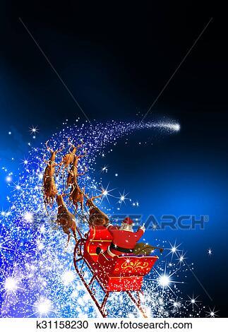Slitta Babbo Natale Immagini.Babbo Natale Con Renna Slitta Sentiero Per Cavalcate Su Uno Stella Cadente Blu Fondo Clipart
