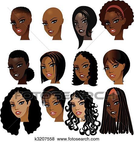 Clip Art Of Black Women Faces K3207558 Search Clipart