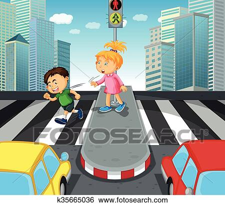 clip art of boy and girl crossing the street k35665036