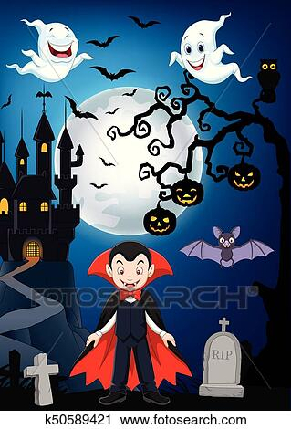 Cartone animato vampiro con halloween fondo clipart