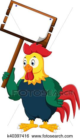 clip art of cartoon chicken rooster k40397416 search clipart rh fotosearch com clipart rooster black and white rooster clipart images