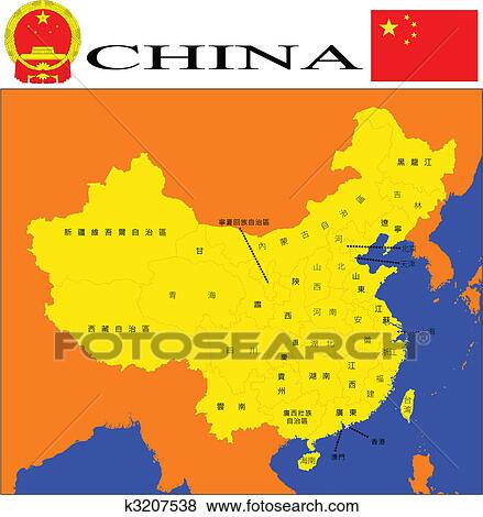 China Map Poster.Clip Art Of China Map K3207538 Search Clipart Illustration
