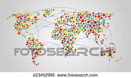 Colorful Abstract World Map Stock Image K23452995