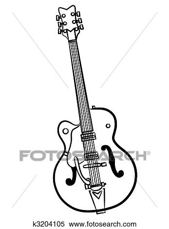 Stock Illustration Of Electric Guitar Line Art Illustration K3204105