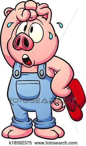 Fatigu cochon clipart k18592375 fotosearch - Dessin cochon debout ...